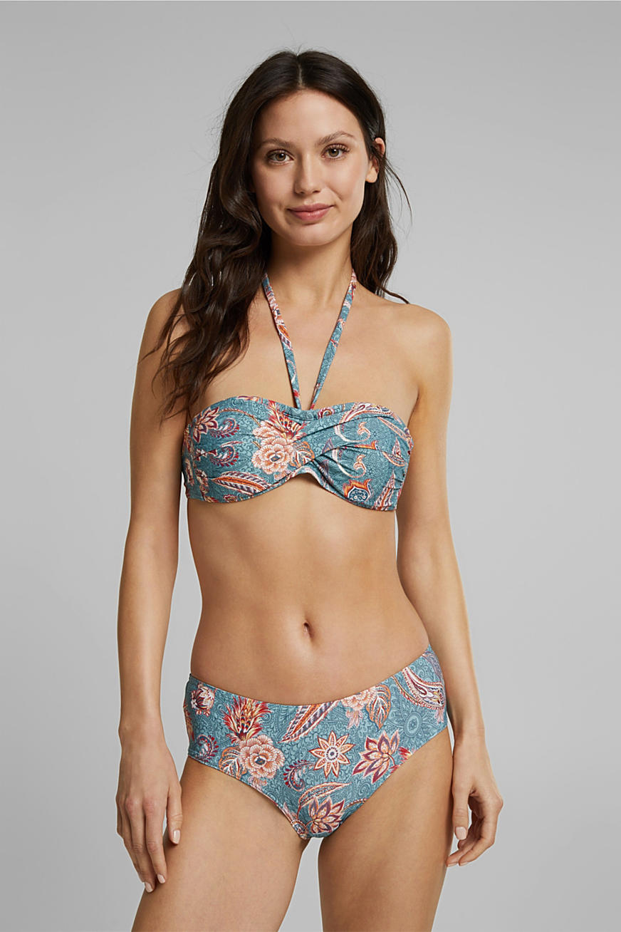 Recycled: padded bandeau top with a print