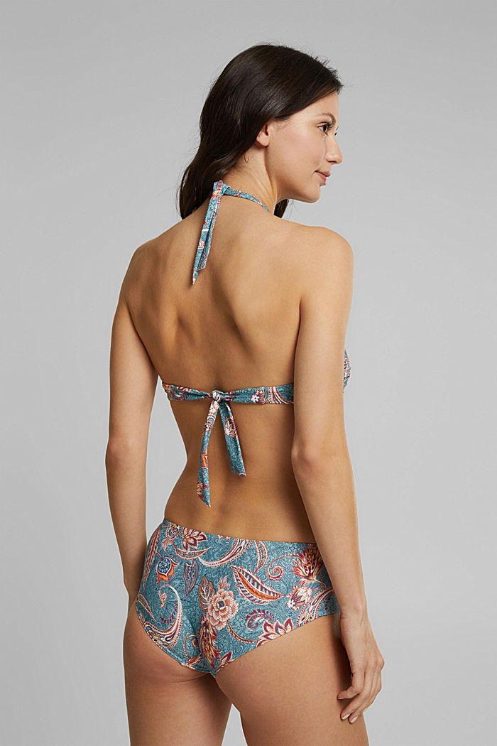 Recycled: padded bandeau top with a print, TEAL GREEN, detail image number 1