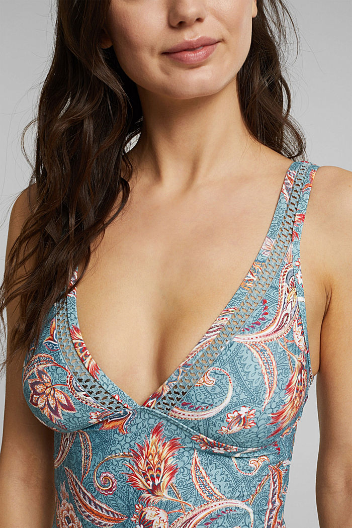 Recycled: tankini top with a print, TEAL GREEN, detail image number 2