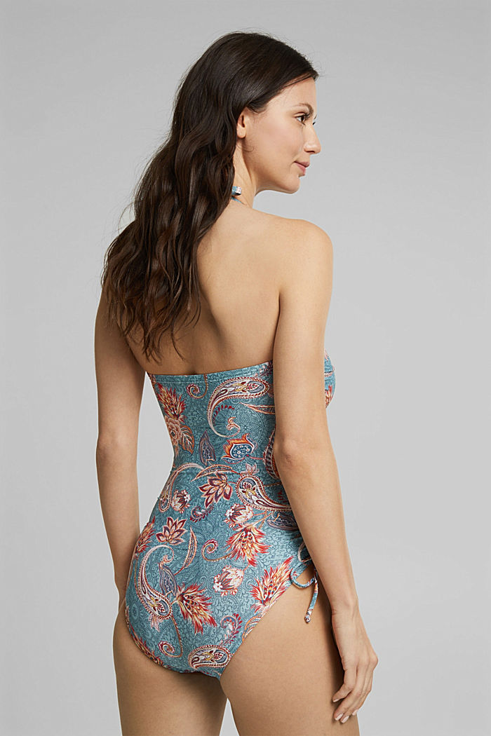 Recycled: bandeau swimsuit with a print, TEAL GREEN, detail image number 1
