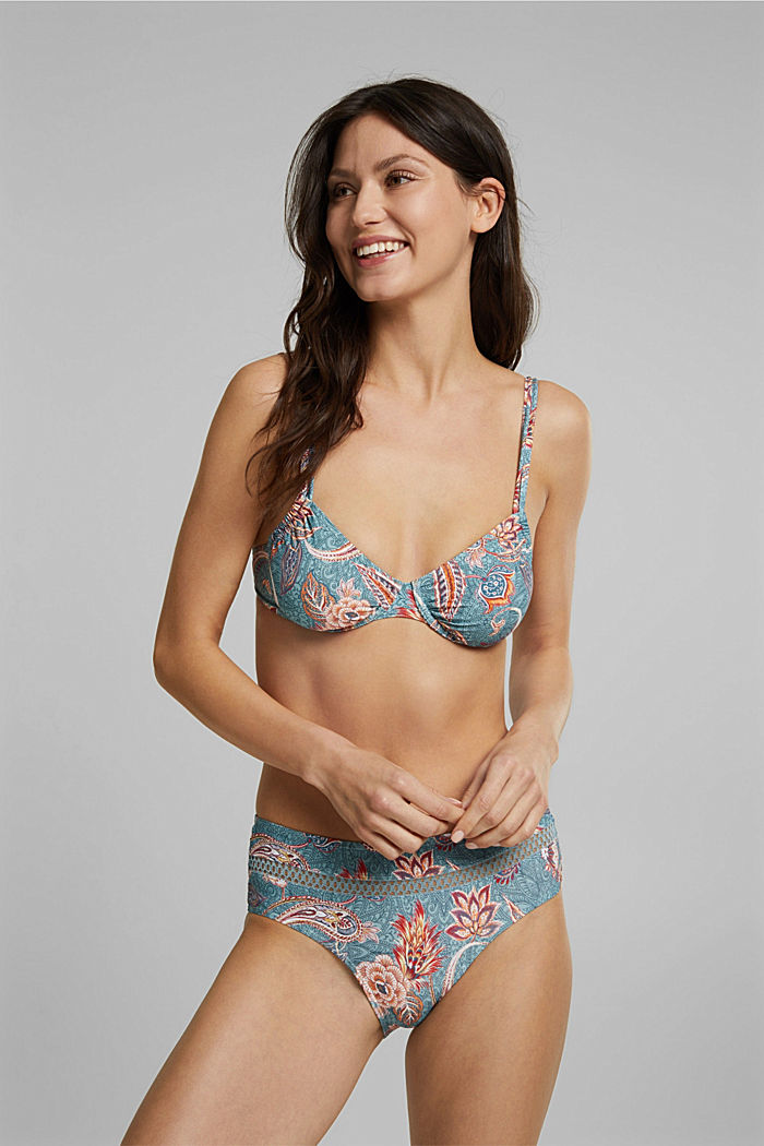 Recycled: underwire bikini top with a print, TEAL GREEN, detail image number 0