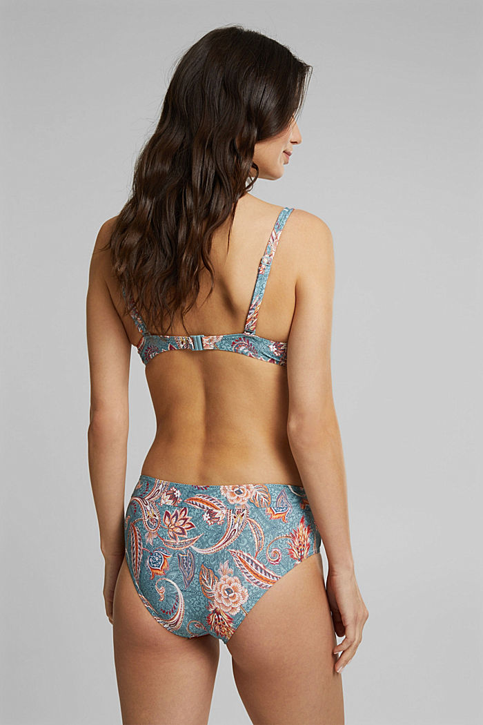 Recycled: underwire bikini top with a print, TEAL GREEN, detail image number 1