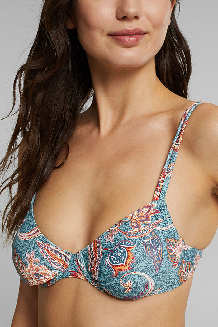 Recycled: underwire bikini top with a print, TEAL GREEN, detail image number 2