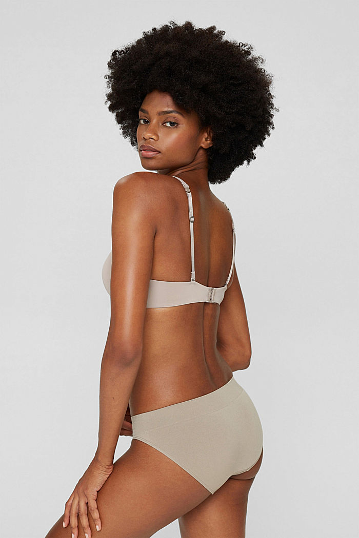 Recycled: padded, underwire bra with lace, LIGHT TAUPE, detail image number 1