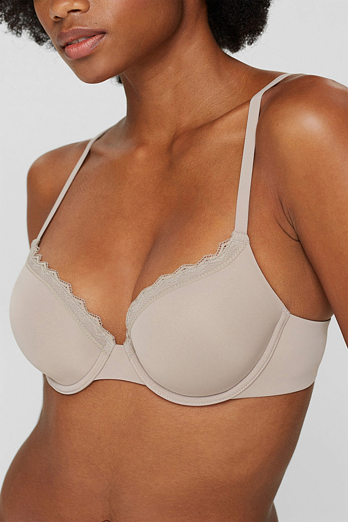 Recycled: padded, underwire bra with lace, LIGHT TAUPE, detail image number 2