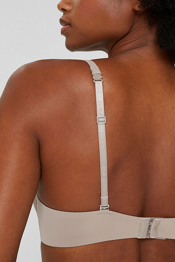 Recycled: padded, underwire bra with lace, LIGHT TAUPE, detail image number 3