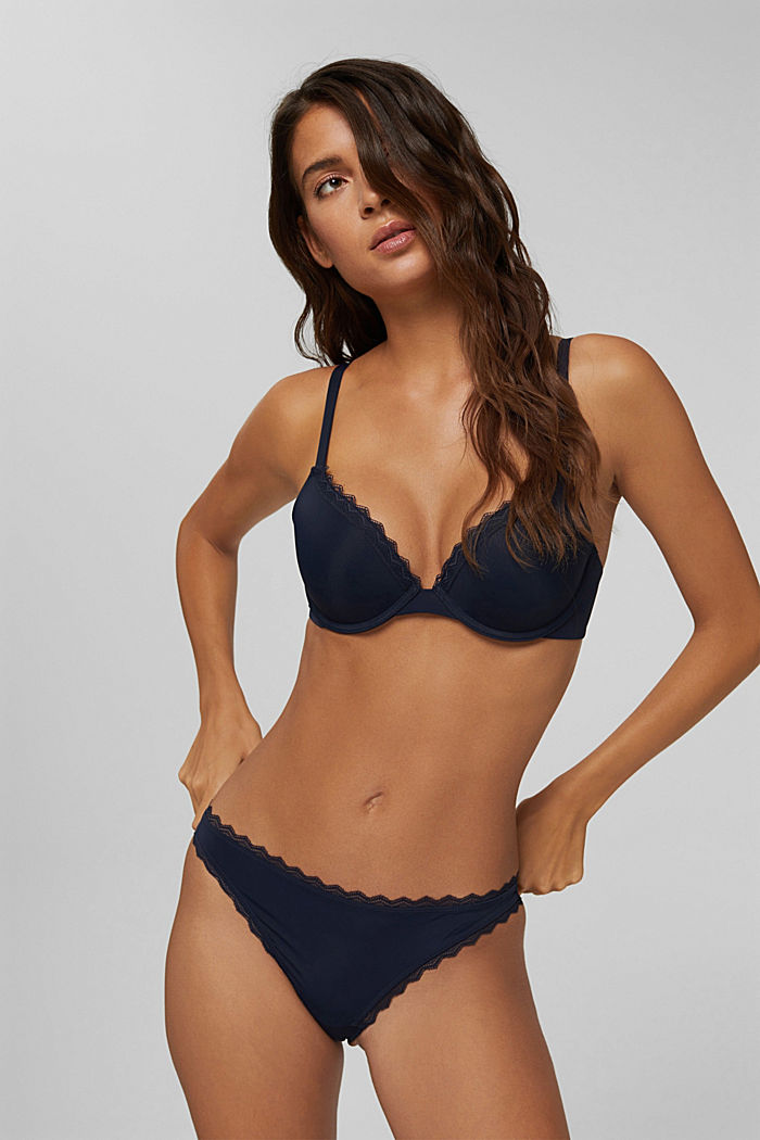 In materiale riciclato: reggiseno push-up con pizzo, NAVY, detail image number 0