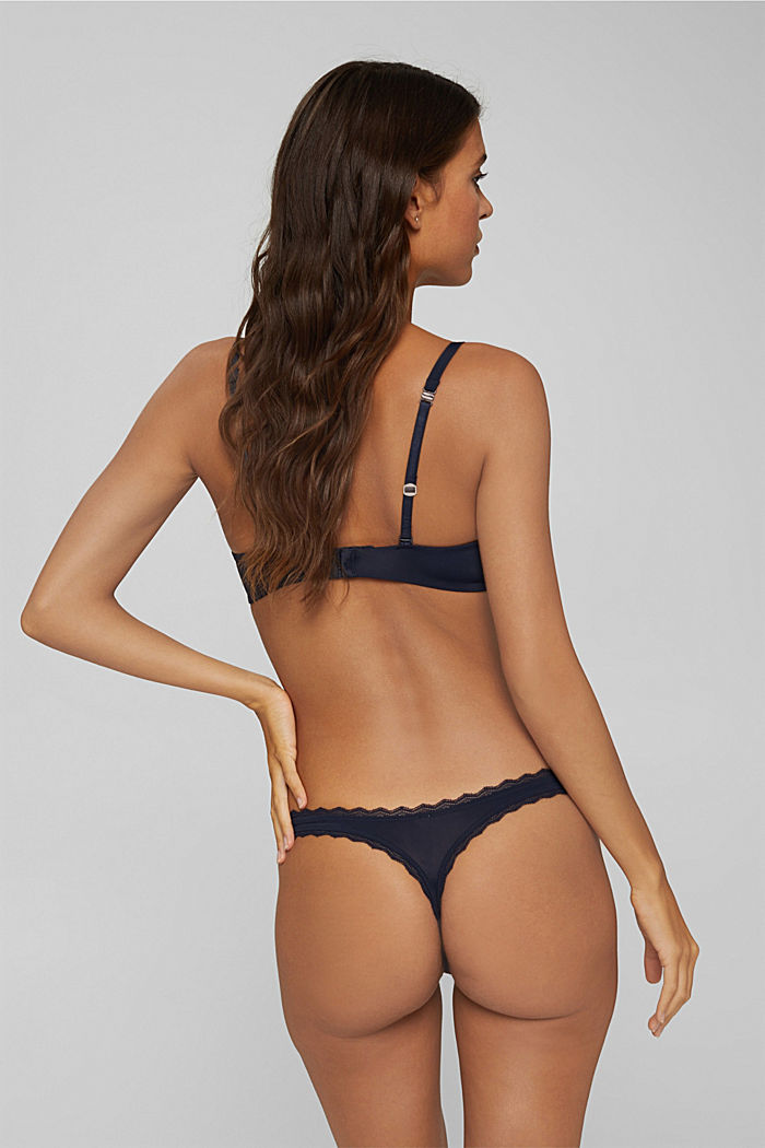 In materiale riciclato: reggiseno push-up con pizzo, NAVY, detail image number 1
