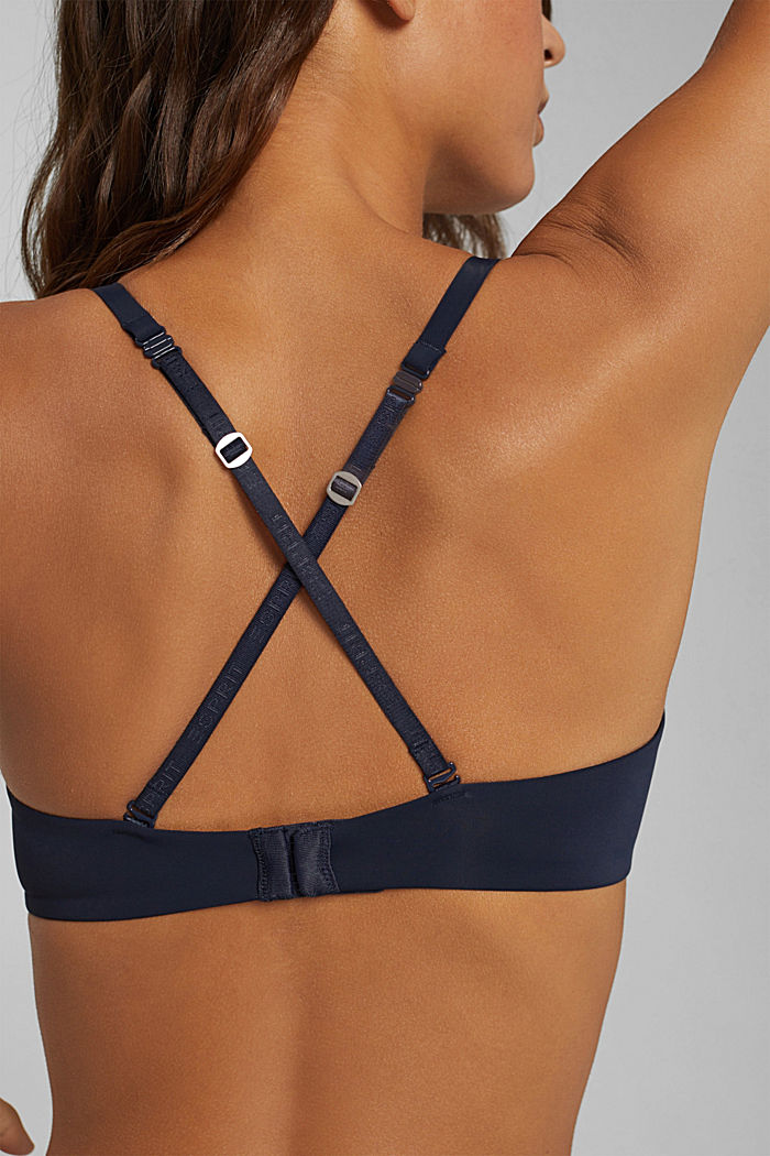 In materiale riciclato: reggiseno push-up con pizzo, NAVY, detail image number 3
