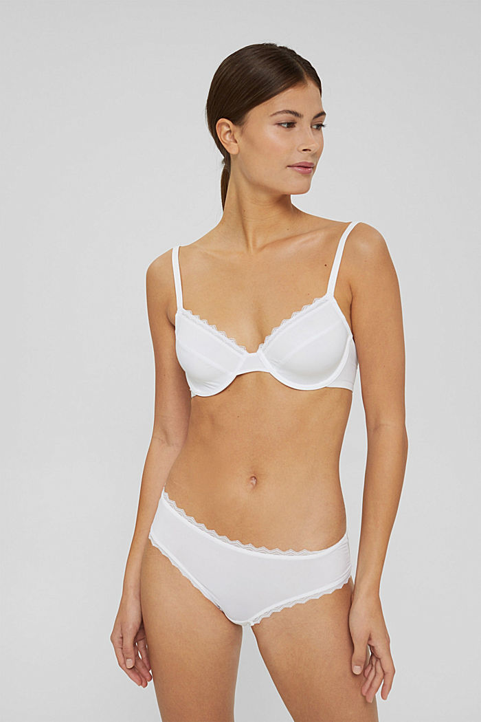 Recycled: unpadded underwire bra with lace, WHITE, detail image number 0