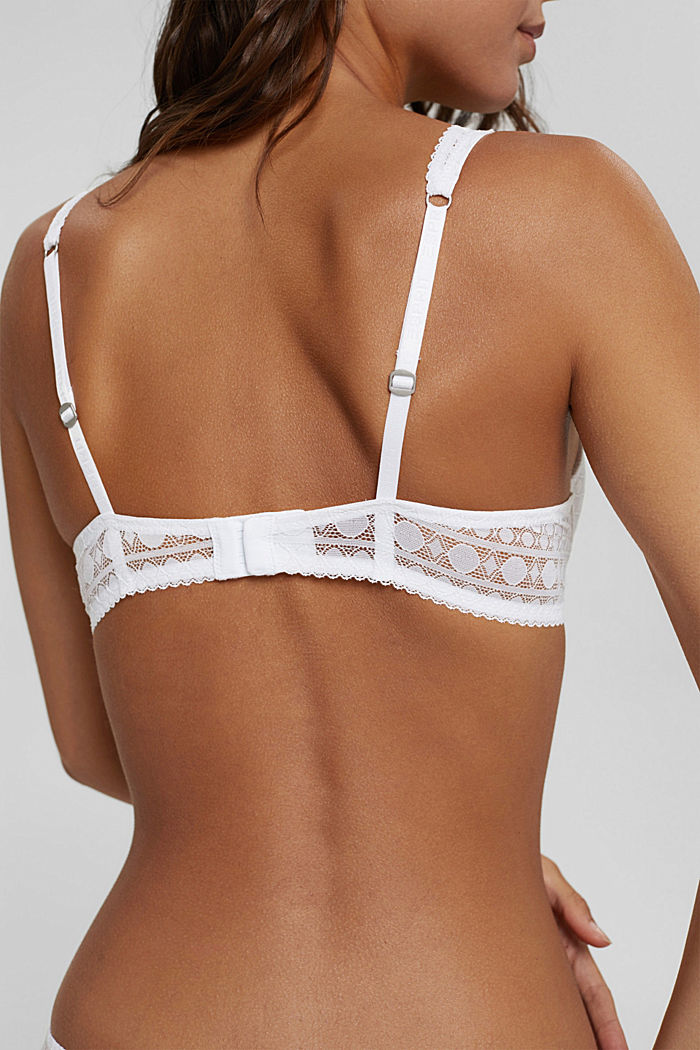 Padded underwire bra in graphic lace, WHITE, detail image number 3