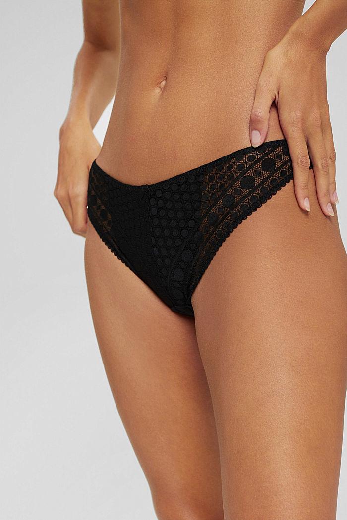 Kierrätettyä: brasilialaistyyliset alushousut graafista pitsiä, BLACK, detail image number 1