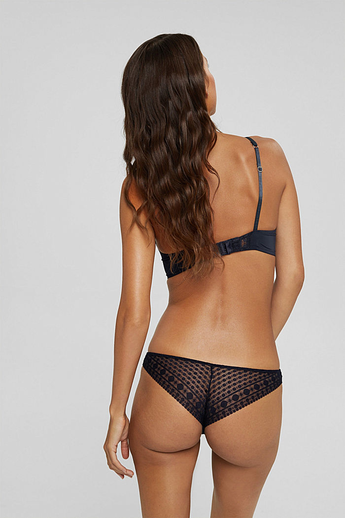Recycled: Brazilian briefs made of geometric lace, NAVY, detail image number 2
