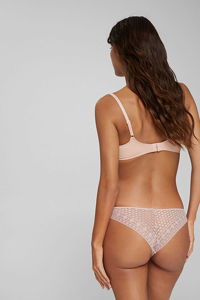 Recycled: Brazilian briefs made of geometric lace, OLD PINK, detail image number 2