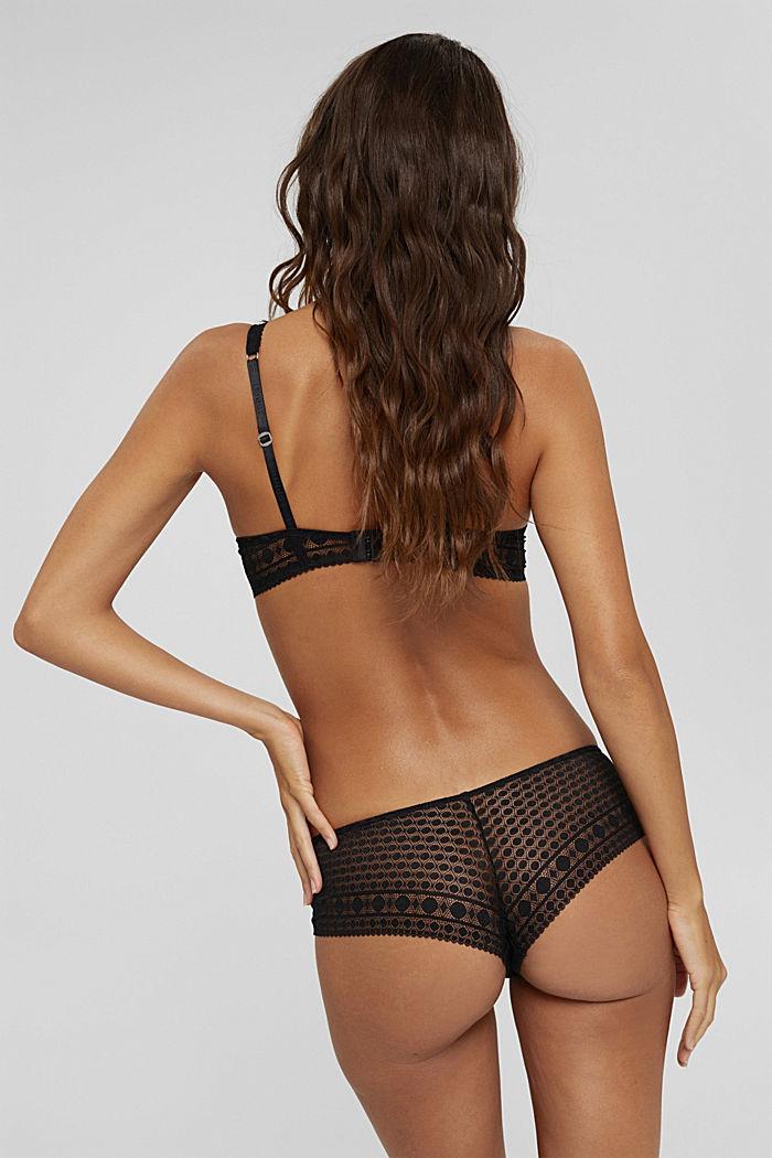 Lot de 2: shortys brésiliens taille basse garnis de dentelle, BLACK, detail image number 2