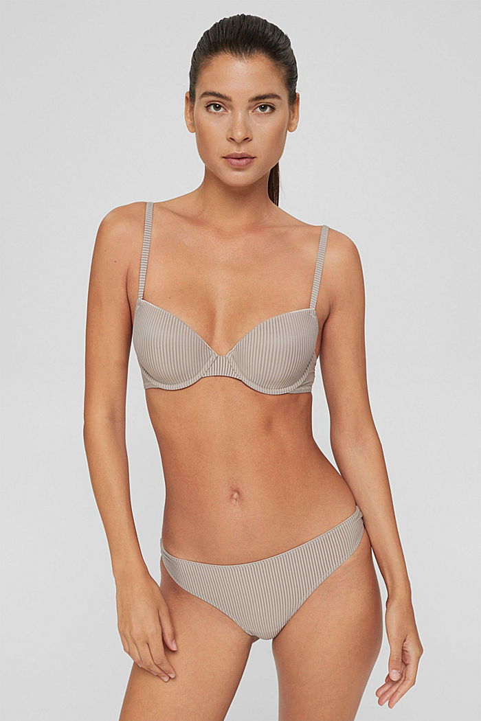 Recycled: padded underwire bra made of microfibre, LIGHT TAUPE, detail image number 0
