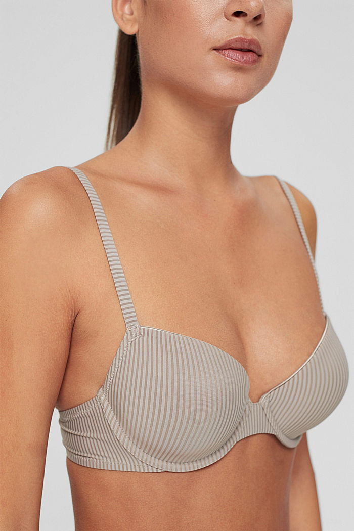 Recycled: padded underwire bra made of microfibre, LIGHT TAUPE, detail image number 2