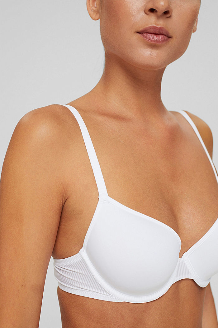 Recycled: padded underwire bra made of microfibre, WHITE, detail image number 2