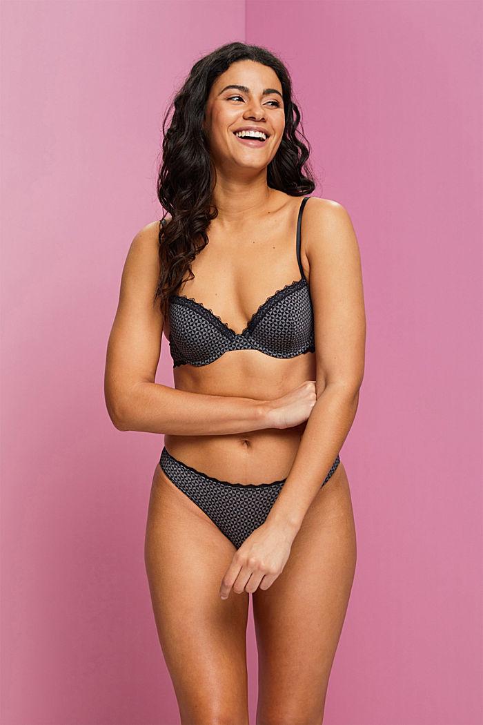 Recycled: padded, printed underwire bra, BLACK, detail image number 0