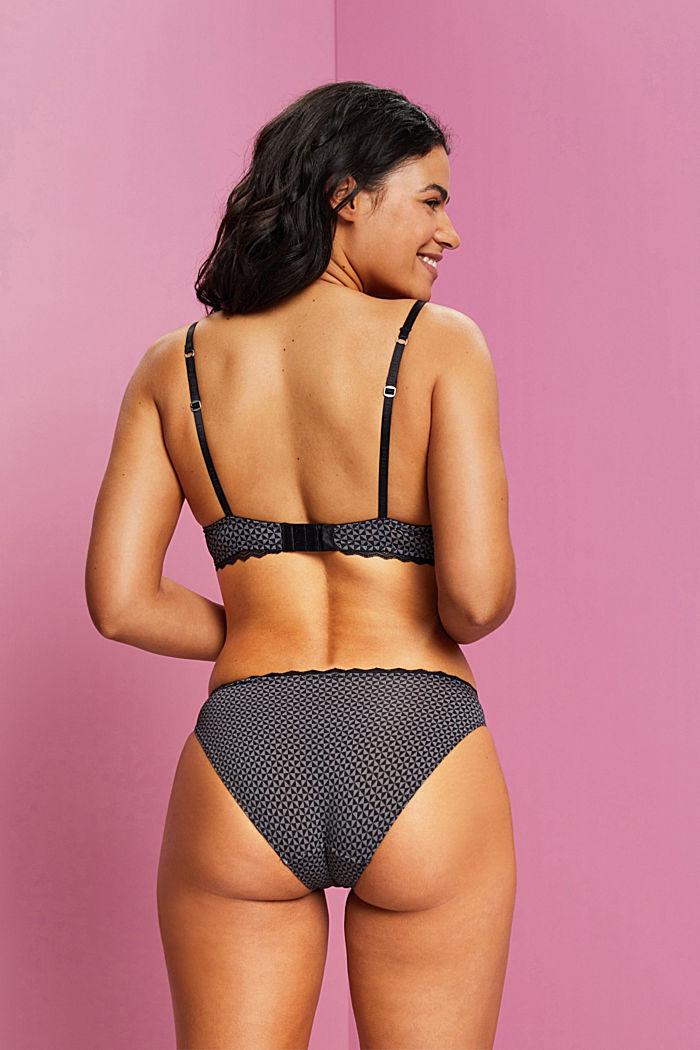 Recycled: padded, printed underwire bra, BLACK, detail image number 1