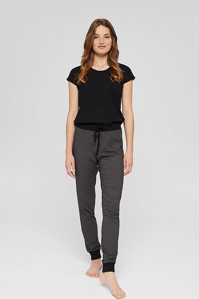 Jersey pyjamabroek van 100% biologisch katoen, BLACK, detail image number 0