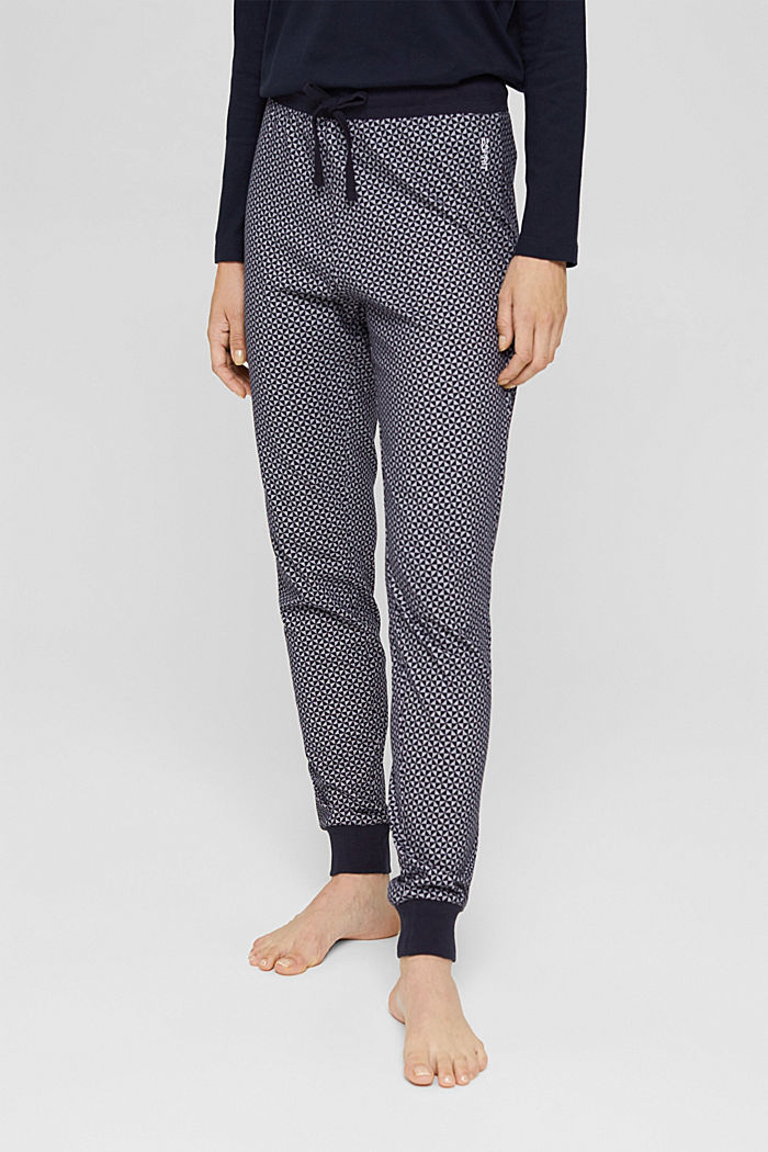 Jersey pyjamabroek van 100% biologisch katoen, NAVY, detail image number 0