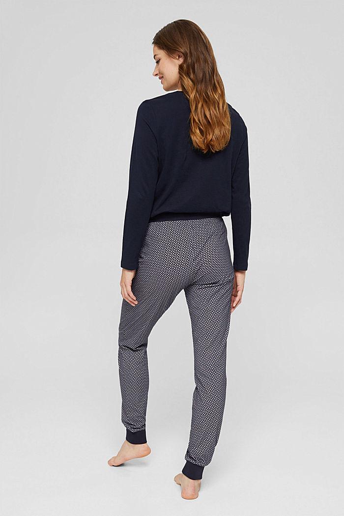Jersey pyjamabroek van 100% biologisch katoen, NAVY, detail image number 3
