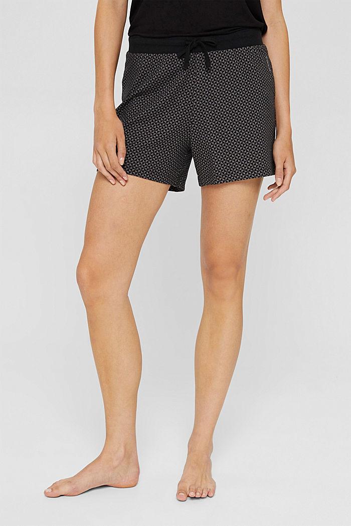 Kuviolliset pyjamashortsit 100 % luomupuuvillaa, BLACK, detail image number 5