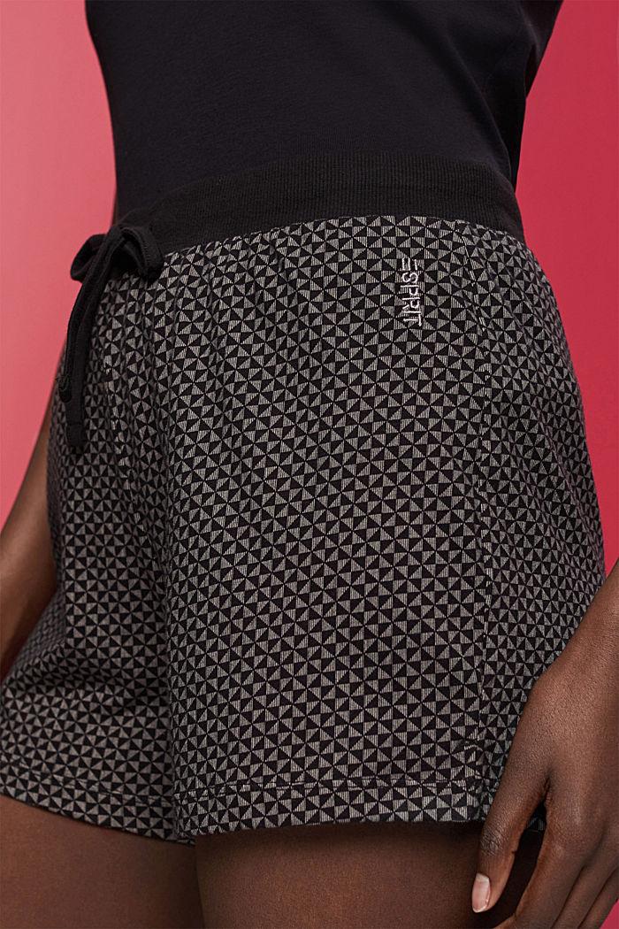 Kuviolliset pyjamashortsit 100 % luomupuuvillaa, BLACK, detail image number 2