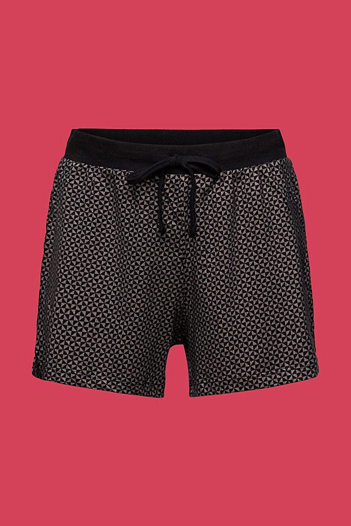 Kuviolliset pyjamashortsit 100 % luomupuuvillaa, BLACK, detail image number 6