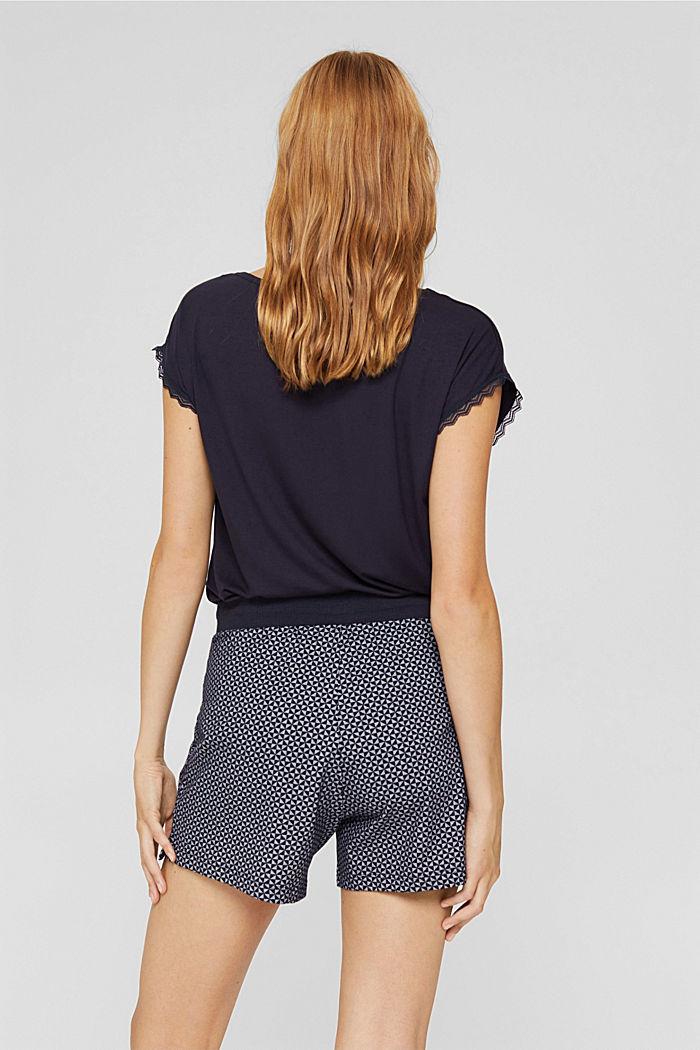 Short de pyjama à motif en 100% coton biologique, NAVY, detail image number 3