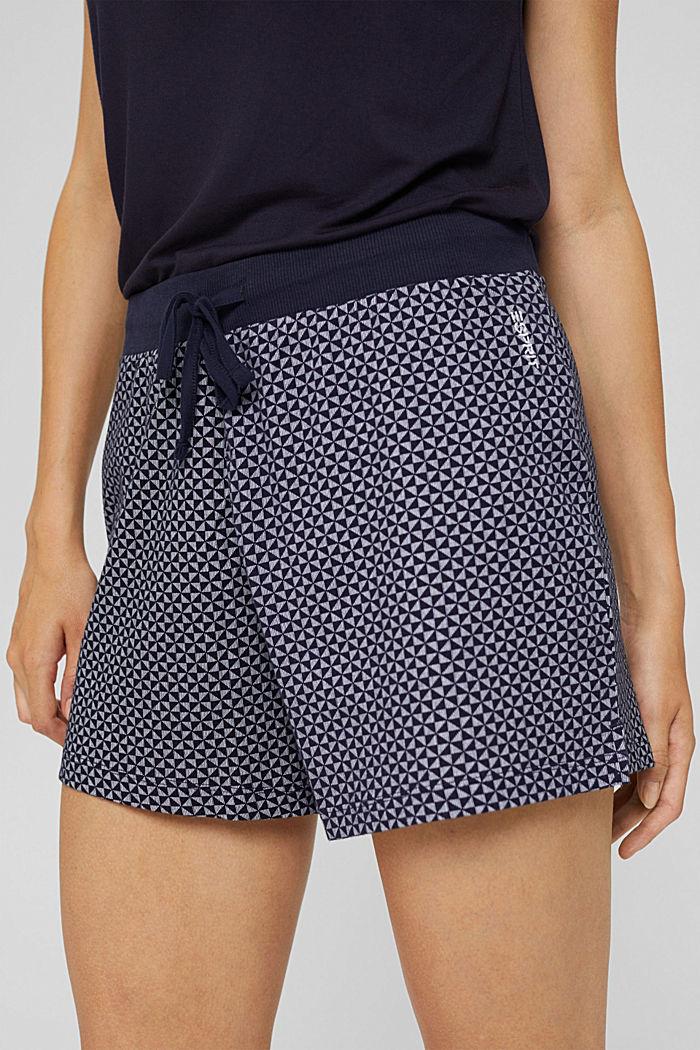 Short de pyjama à motif en 100% coton biologique, NAVY, detail image number 2