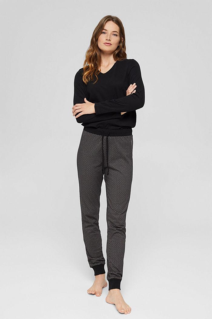 Pyjamashirt van 100% biologisch katoen, BLACK, detail image number 0