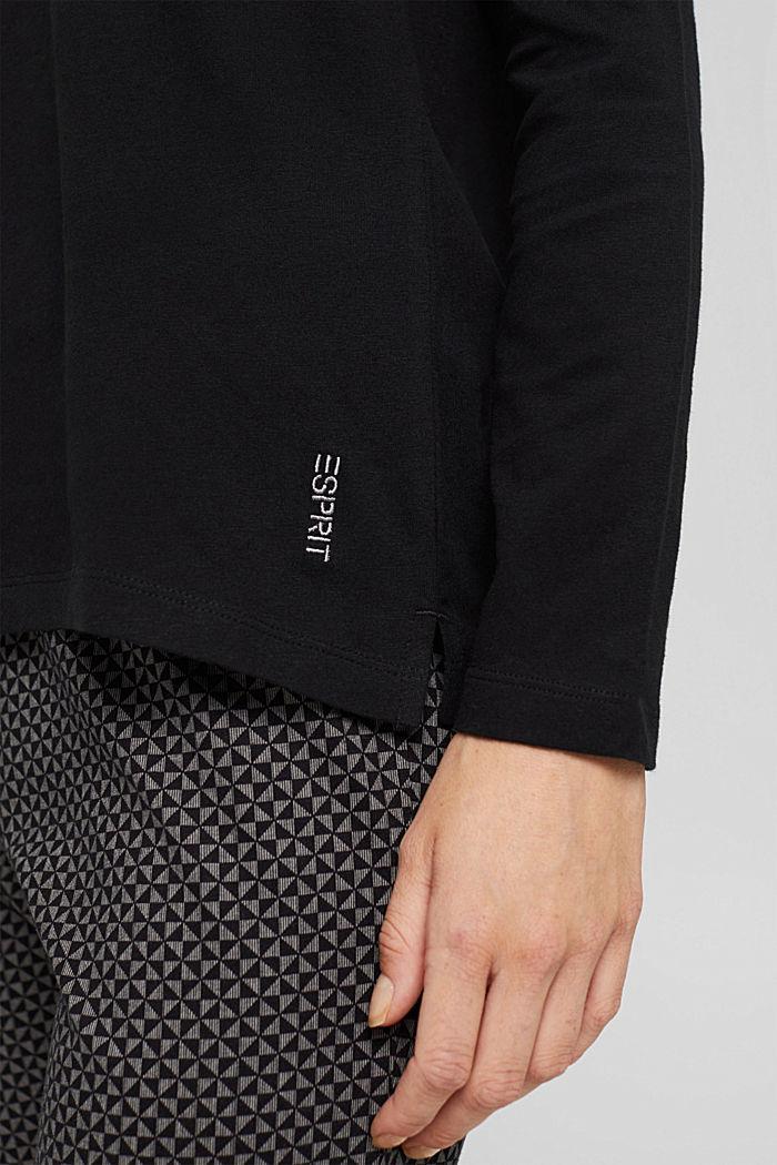 Pyjamashirt van 100% biologisch katoen, BLACK, detail image number 3