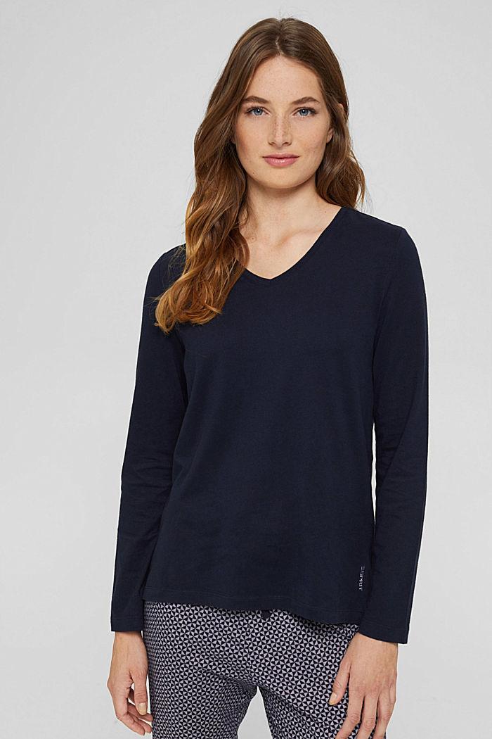 Pyjama top made of 100% organic cotton, NAVY, detail image number 1