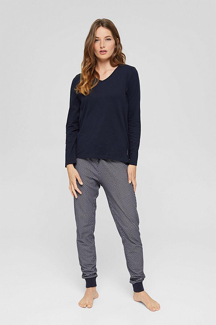Pyjama top made of 100% organic cotton, NAVY, detail image number 0