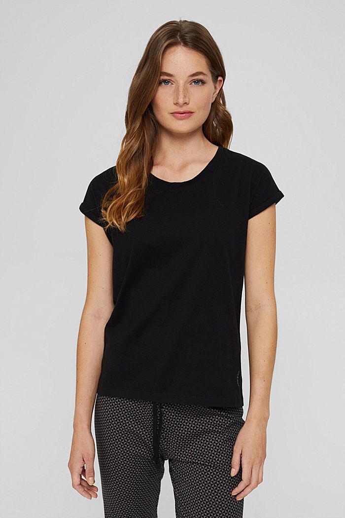 Samtiges Pyjama-Oberteil, 100% Bio-Baumwolle, BLACK, detail image number 1