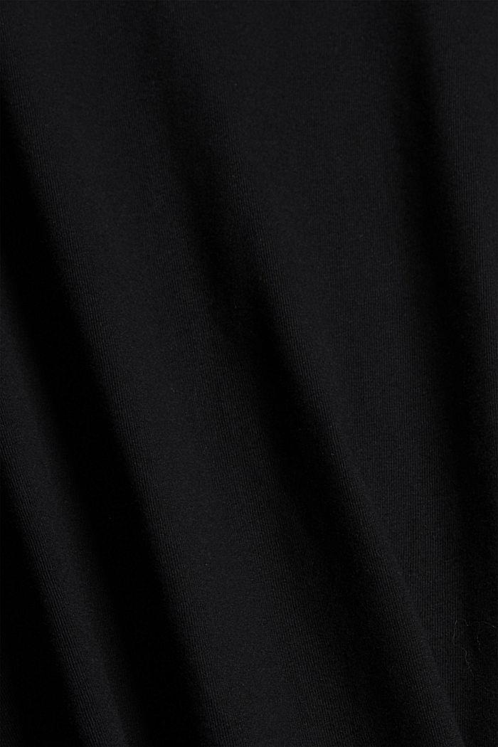 Samtiges Pyjama-Oberteil, 100% Bio-Baumwolle, BLACK, detail image number 4