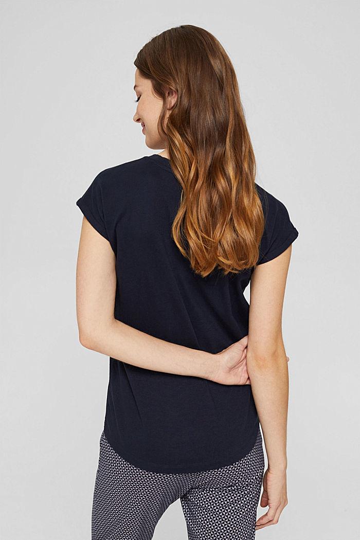 Haut de pyjama velouté, 100% coton biologique, NAVY, detail image number 2