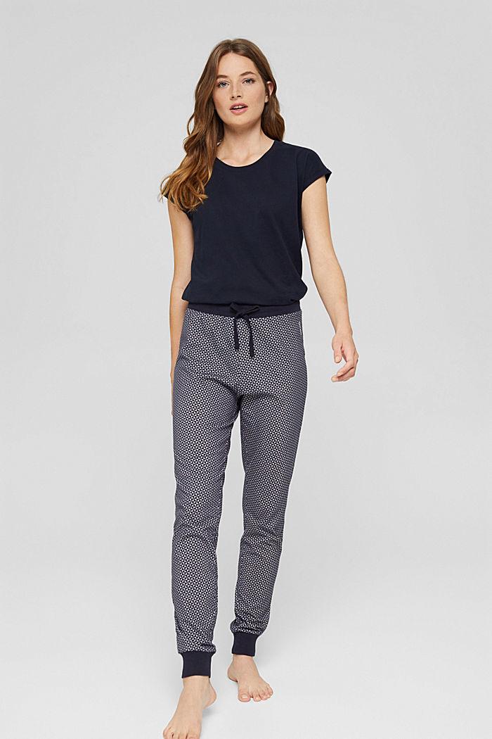 Haut de pyjama velouté, 100% coton biologique, NAVY, detail image number 0