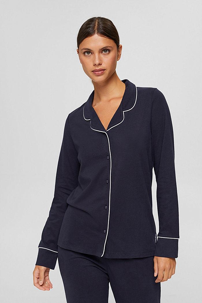 Pyjama à col à revers, 100% coton biologique, NAVY, detail image number 0
