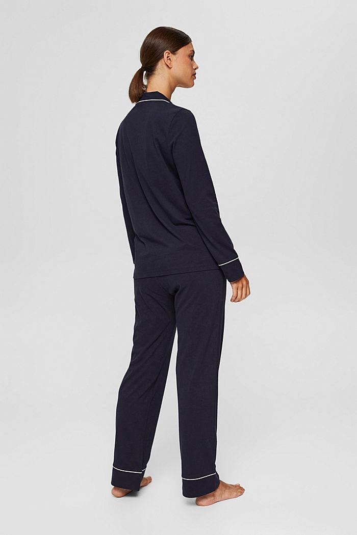 Pyjama à col à revers, 100% coton biologique, NAVY, detail image number 1