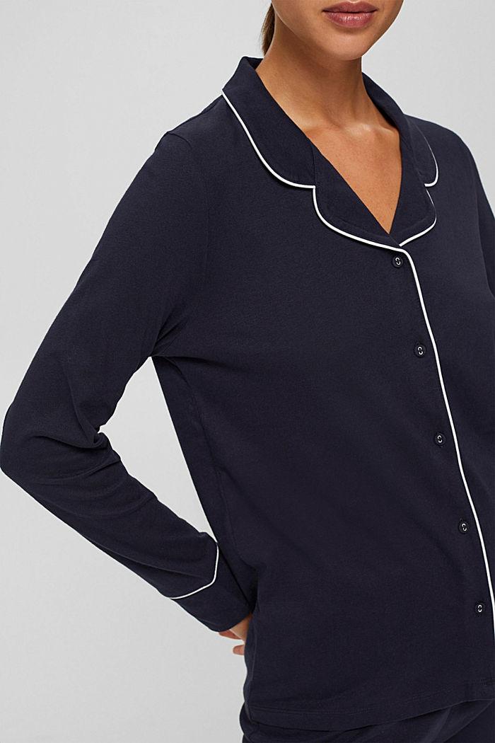 Pyjama à col à revers, 100% coton biologique, NAVY, detail image number 2