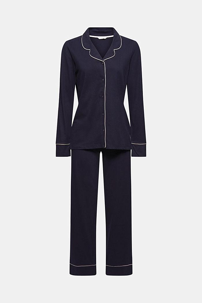 Pyjama à col à revers, 100% coton biologique, NAVY, detail image number 4