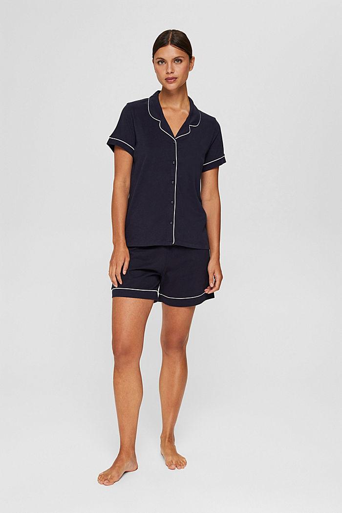 Pyjama 100 % luomupuuvillaa, kauluskäänteet, NAVY, detail image number 0