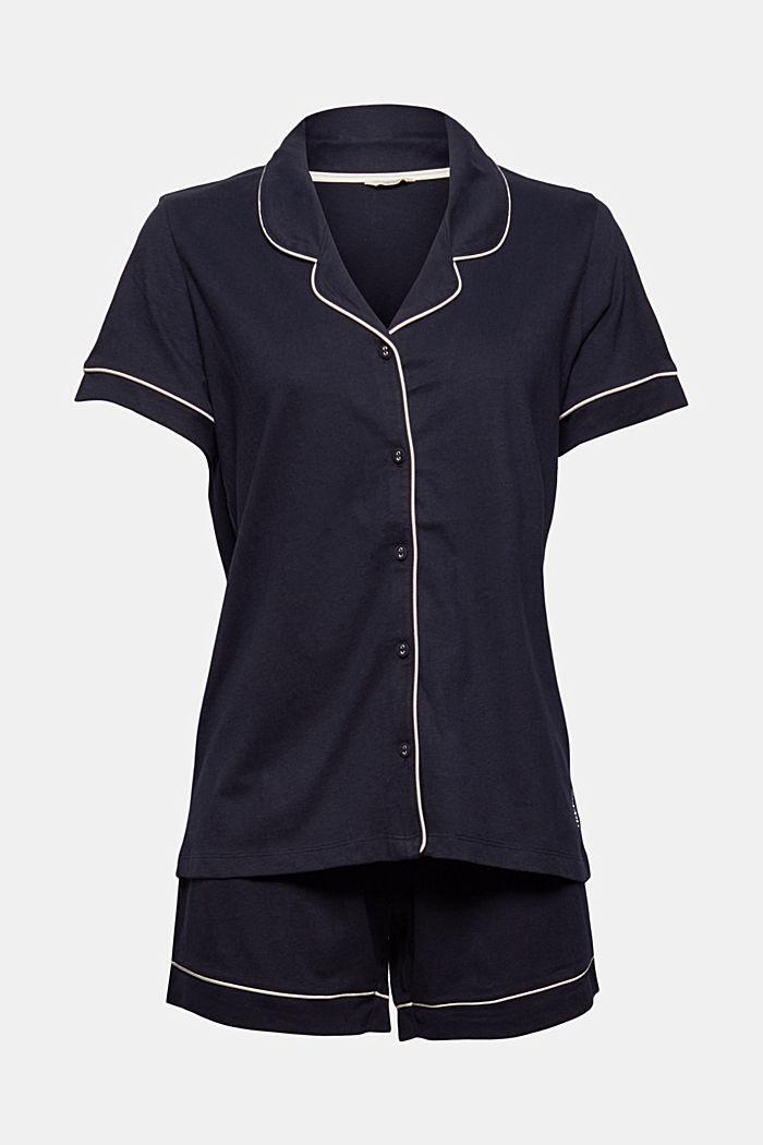 Pyjama mit Reverskragen, 100% Bio-Baumwolle