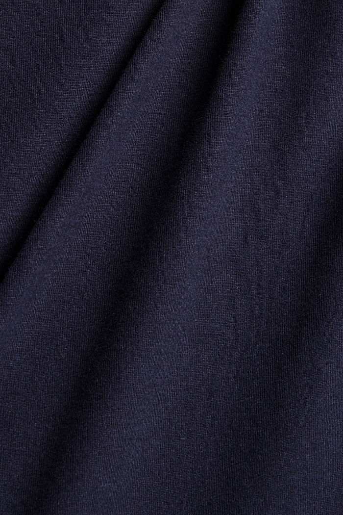 Chemise de nuit à col à revers, 100% coton biologique, NAVY, detail image number 3