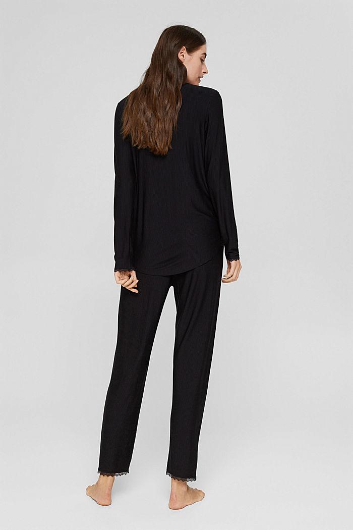 Striped jersey pyjamas, LENZING™ ECOVERO™, BLACK, detail image number 1