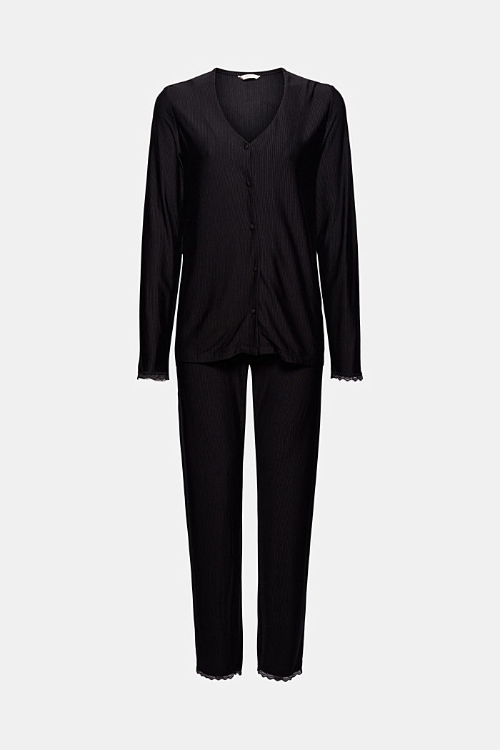 Gestreepte jersey pyjama, LENZING™ ECOVERO™