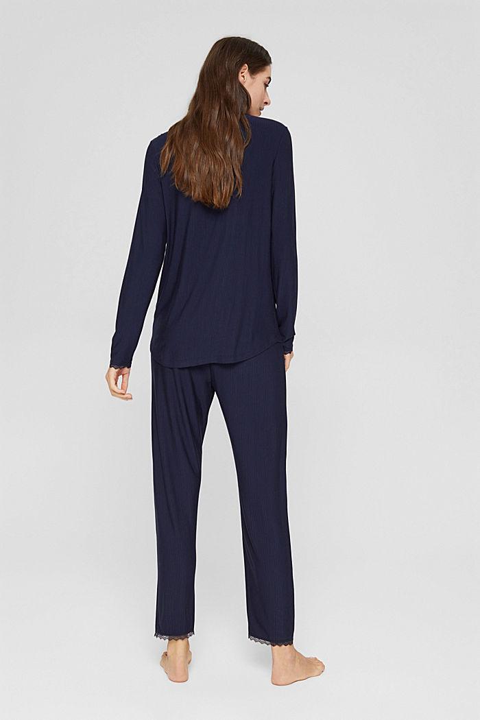 Pyjama rayé en jersey, LENZING™ ECOVERO™, NAVY, detail image number 1